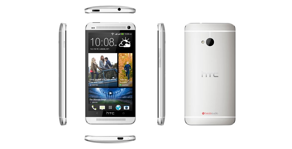 Dual sim. Front and back view of HTC One.