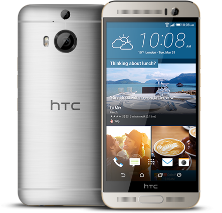 HTC One M9+ Gold on Silver