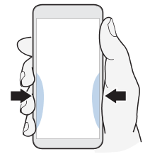 Illustration showing the area where you would squeeze the phone to launch Edge Sense.