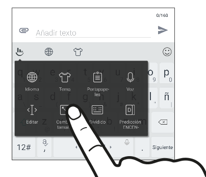 Screen showing the resize button for resizing the TouchPal keyboard.
