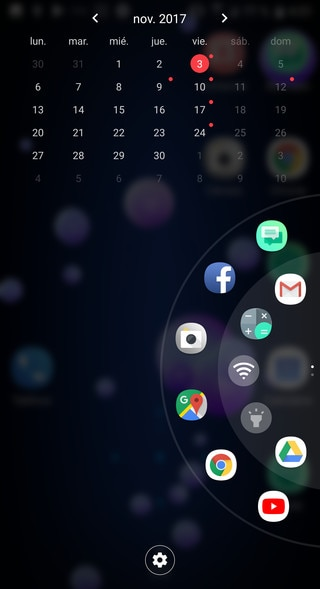 Screen showing the Edge launcher.