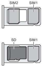 Illustration showing the position of the SIM card and SD card on the tray for a single-SIM and dual-SIM configurations.