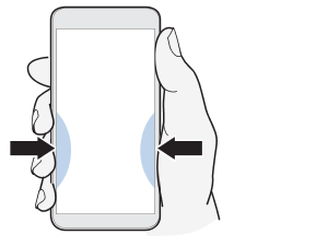 Illustration showing how to squeeze and hold the Edge Sense area of the phone.