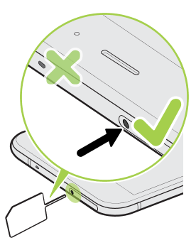 Illustration showing how to properly eject the SIM and SD card tray using the eject tool.