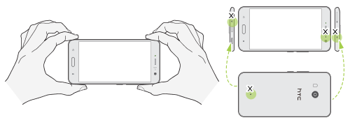 Illustration showing the proper handling of the phone when taking videos with hi-res or 3D audio.