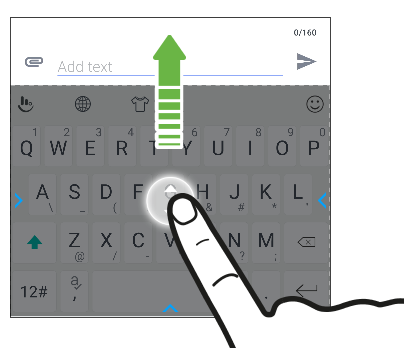 Screen showing how to move the TouchPal keyboard using an upward finger gesture.