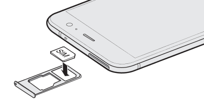 Illustration showing how to place the SIM card to the SIM card tray.