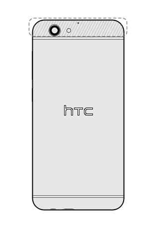 Image showing the location of the NFC antenna.