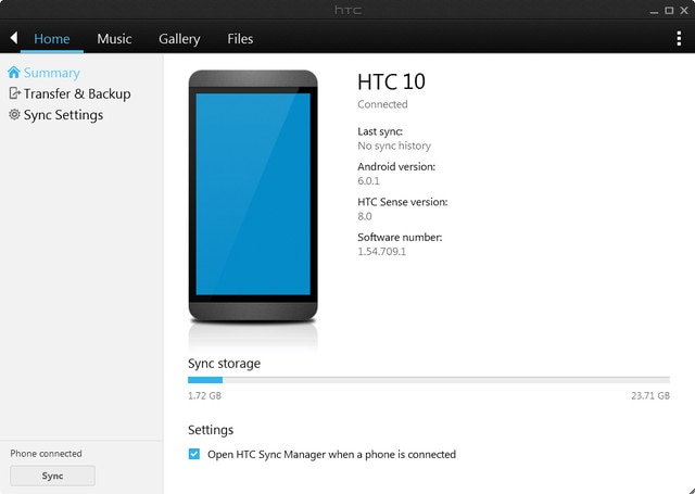 HTC Sync screenshot