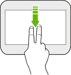 Image illustrating swiping down with two fingers on the screen.